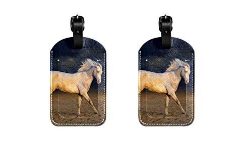 Pferd 015 Kofferanhänger Koffer Leder Gepäckanhänger 2 Stück Namensschild Adresse Tag Flugzeug Gepäckanhänger Visitenkartenhalter Kartenpaket 7x11.4cm