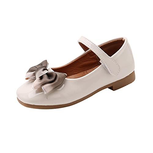 DEBAIJIA Princess Niñas Zapatos 2-9 Años Zapatillas Moda Niños Clásico Hermosa Flor Tendencia Fondo Suave Cuero Baile Caminar EU 27 Blanco(Tamaño Etiqueta 26)