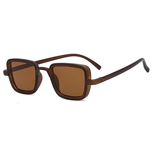 IRCATH Gafas de Sol cuadradas clásicas clásicas para Hombre Gafas de Moda para Conducir Gafas de Sol con Lentes Transparentes y Coloridas para Hombre UV400 Se Puede Usar para Pescar Golf-marrón Marró