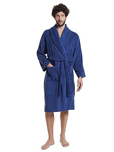 SIORO Männer Bademantel, Baumwolle Reisebademantel mit Schalkragen für Reisen, Heim und Sauna,Marine M