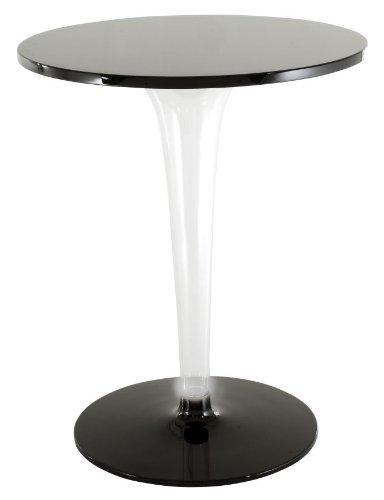 Kartell top tafel rond H 72cm/Gestell PMMA transparent/Fuß rund Aluminium schwarz/Tischplatte Werzalit Ø60cm