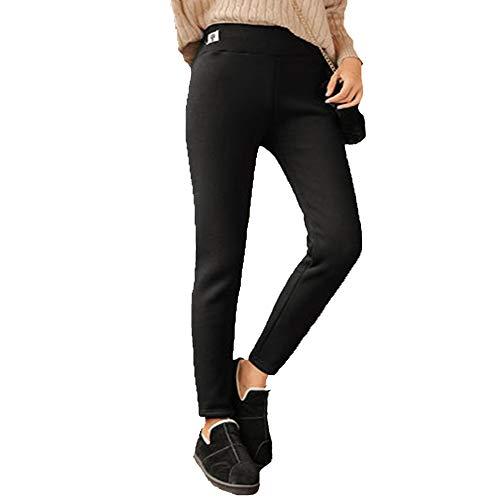 SPLLEADER Damen warme Fleece-gefütterte Hose, Thermo-Hose, hohe Taille, Stretch-Hose für den Winter,B,XXXL