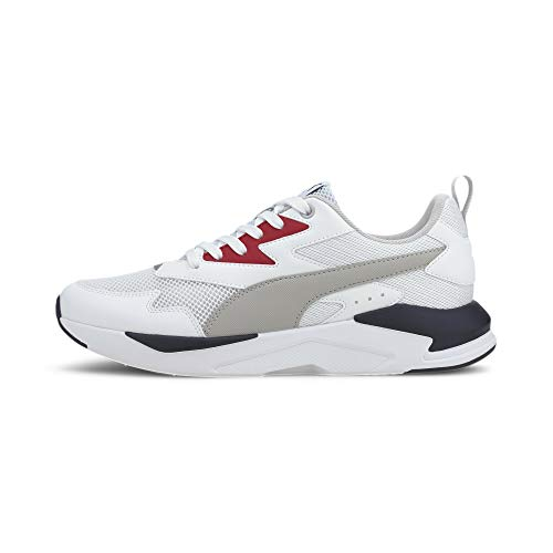 PUMA Unisex X-ray Lite Sneaker, White Gray Violet High Risk Red New Navy, 47 EU