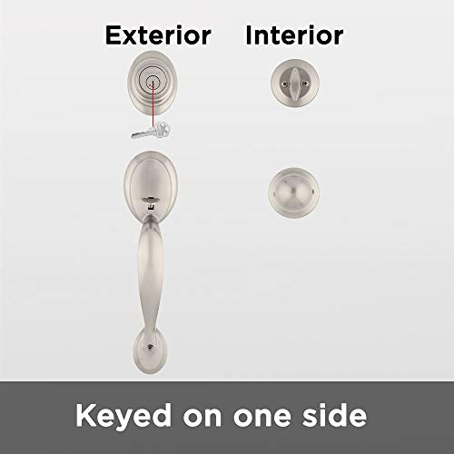 Kwikset Dakota Single Cylinde   r Handleset with Polo Knob featuring SmartKey in Satin Nickel - 96870-090