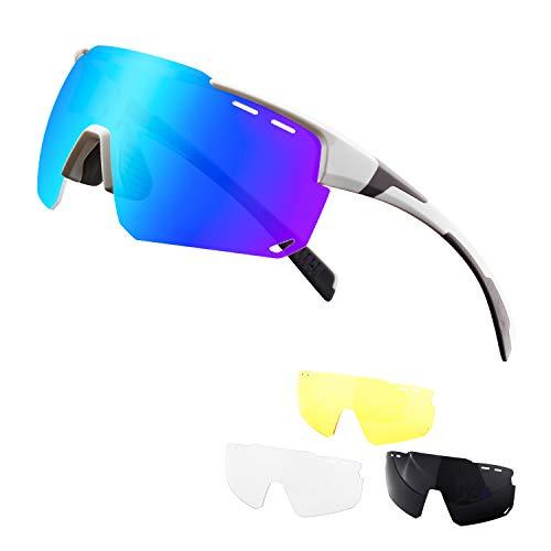 DUDUKING Rad Sport Fahrradbrille Fahrrad Sonnenbrille für Herren und Damen mit 3 Wechselobjektiven TR90 UV400 Schutz Windschutz Radsportbrille für Fahren Angeln Glof Baseball Laufen Wandern