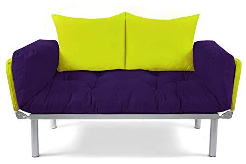 EasySitz Schlafsofa Sofa 2 Sitzer Kleines Couch 2-Sitzer Schlafsessel für Zweisitzer Personen Mein Futon Sitzen EIN Einer Farbauswahl (Aubergine & Grün)