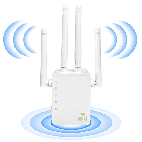 WiFi Extender - WiFi Repeater, WiFi Booster Covers Up to 2500 Sq.ft and 30 Devices, Up to 1200Mbps Dual Band WiFi Repeater with Ethernet Port, Wireless Signal Booster for Home.