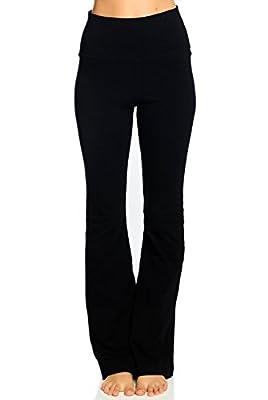 Hard Tail Rolldown Bootleg Flare Pant-Black-S Womens Active Workout Yoga Leggings Black