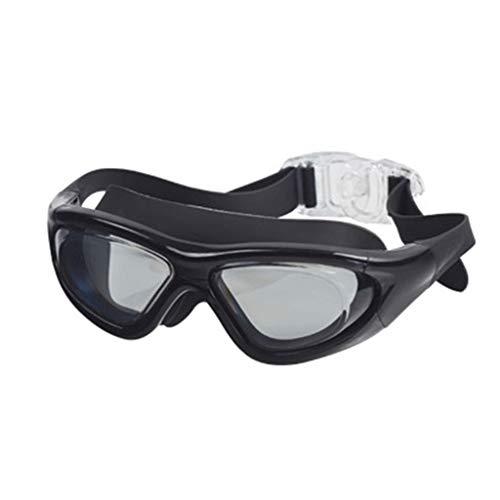Karrychen Gafas de natación con Espejo Gran Angular y luz Plana sin Fugas, protección contra los Rayos UV, Oscuro