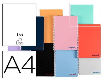 Cuaderno espiral liderpapel a4 wonder tapa plastico 80h 90 gr liso colores surtidos