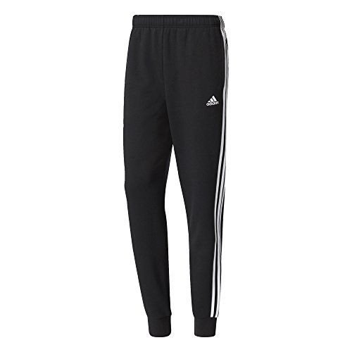 adidas Herren Hose Essentials 3-Stripes Tapered Cuffed Fleece, Black/White, L, BR3696