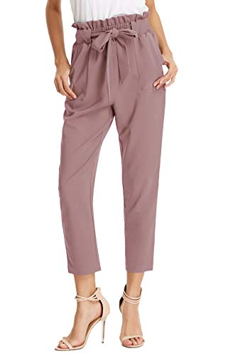 GRACE KARIN Women's Pants Trouser Slim Casual Cropped Paper Bag Waist Pants M Puce