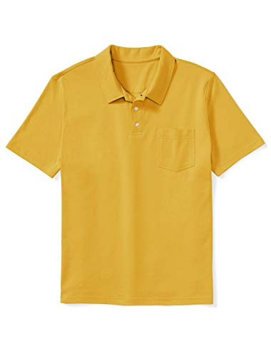 Amazon Essentials Men's Big & Tall Jersey Polo Shirt Shirt, -Yellow, 6XLT
