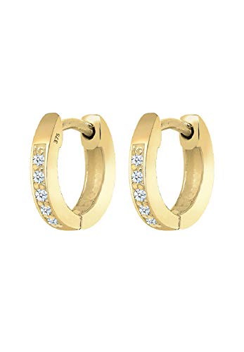 Elli PREMIUM Ohrringe Damen Creolen Basic mit Diamant (0.10 ct.) in 375 Gelbgold