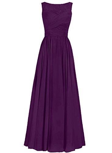Ballkleider Lang Abendkleider Brautjungfernkleid Hochzeitskleider Chiffon A Linie Traube EUR50