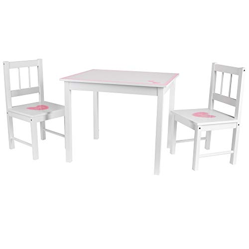 Juego de 3 sillas para niños, color blanco y rosa