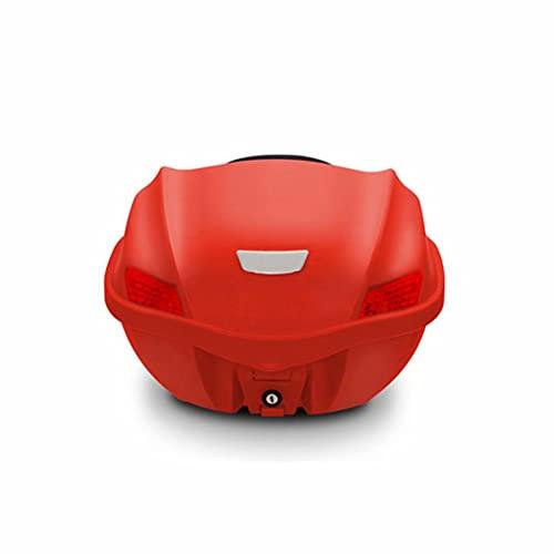 HGTRH Baul Moto Desmontable Rojo, Universal Cofre Moto 29 litros Desenganche RáPido, Cajon para Moto 44.5 * 44 * 29cm, Top Case Moto para 1 Casco Integral, BaúL Moto con Base Incluida