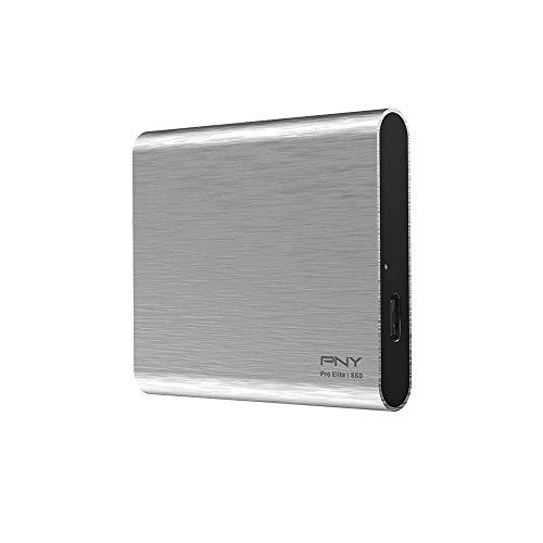 PNY Pro Elite 1TB USB 3.1 Gen 2 Type-C Portable SSD (bis zu 890 MB/s) Silber Brush