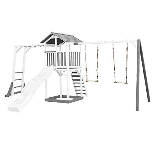 AXI Beach Tower Spielturm aus Holz in Weiß & Grau   Spielhaus für Kinder mit weißer Rutsche, Klettergerüst, Doppelschaukel und Sandkasten   Stelzenhaus für den Garten