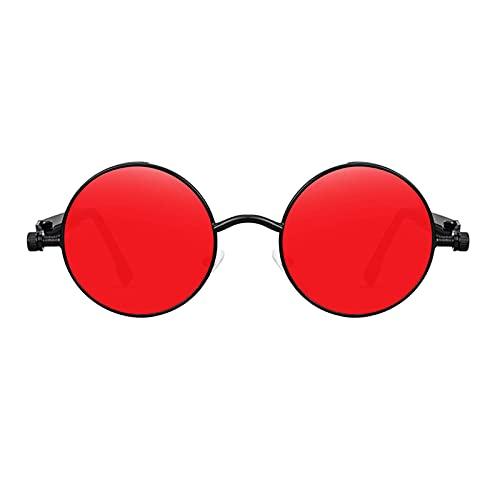 FITYLE Gafas de sol Steampunk para hombres y mujeres, protección UV, sombras góticas redondas, marco circular de Metal - Negro rojo