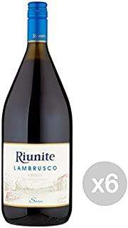 Glooke Selected Set of 6 Red Lambrusco Wine 1.5 L Dry C.Riunite Table Alcohol, Multicoloured, One Size
