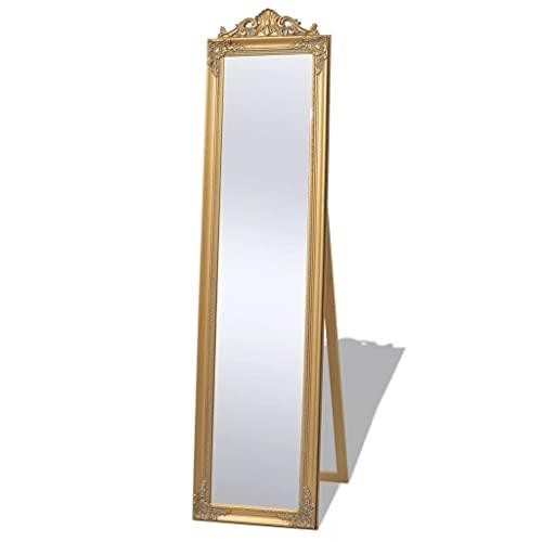 Espejo de Cuerpo Entero de pie, Espejo de tocador con Marco, de pie, Dormitorio, Pasillo, Espejo Alto, Espejo de pie, Estilo Barroco, 160x40 cm, Dorado