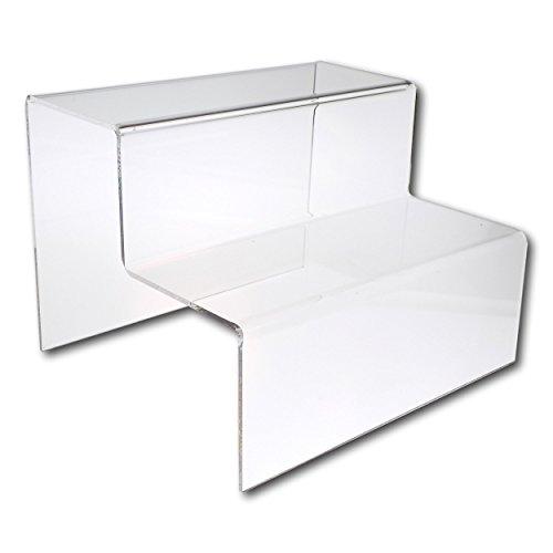 EPOSGEAR 2 niveles de pantalla de plástico acrílico transparente o de color para tienda - perfecto para tiendas, estrellas, adornos, modelos, etc, color transparente Large