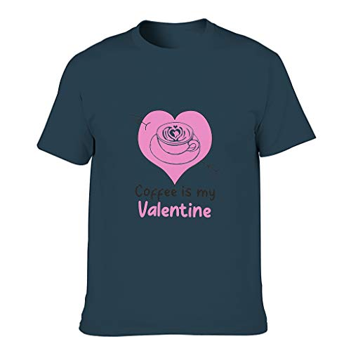 Camiseta de algodón para hombre, diseño con texto en alemán 'Kaffee ist Mein Valentín' azul marino S
