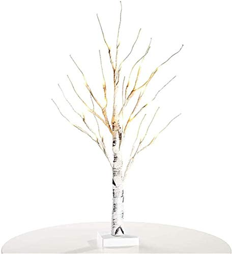 N /D Mini White Easter Tree Tabletop Birch Tree Battery Operated LED Twig Tree for Easter Party Wedding Christmas Decor (White, 60cm/23.62inch)
