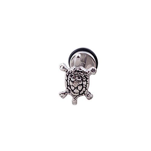 QIN Men's lady punch cool stainless steel turtle turtle earrings pierced earrings animal earrings