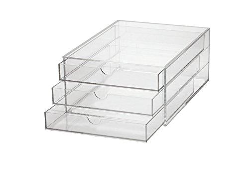 Maul Schubladenbox, hochwertiges Acryl, 3 Fächer Aufbewahrungsbox, geschlossenes Ablagesystem für DIN A4-Formate, transparente Fächer, 1 Stück