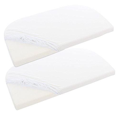 babybay Jersey Spannbetttuch Deluxe Doppelpack passend für die Modelle Maxi, Midi, Boxspring, Comfort und Comfort Plus, weiß, 89 x 50 cm (Doppelpack)