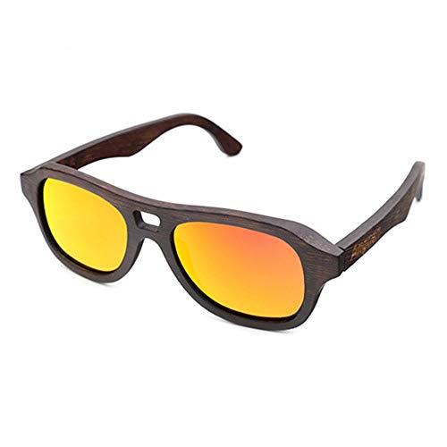WHSS Gafas de sol polarizadas con revestimiento de bambú, tendencia al aire libre, para hombres, una variedad de lentes de color protección UV400 (color: rojo)