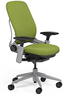 Steelcase Leap Desk Chair in Buzz2 Meadow Green Fabric - Highly Adjustable Arms - Platinum Frame and Base - Soft Dual Wheel Hard Floor Casters