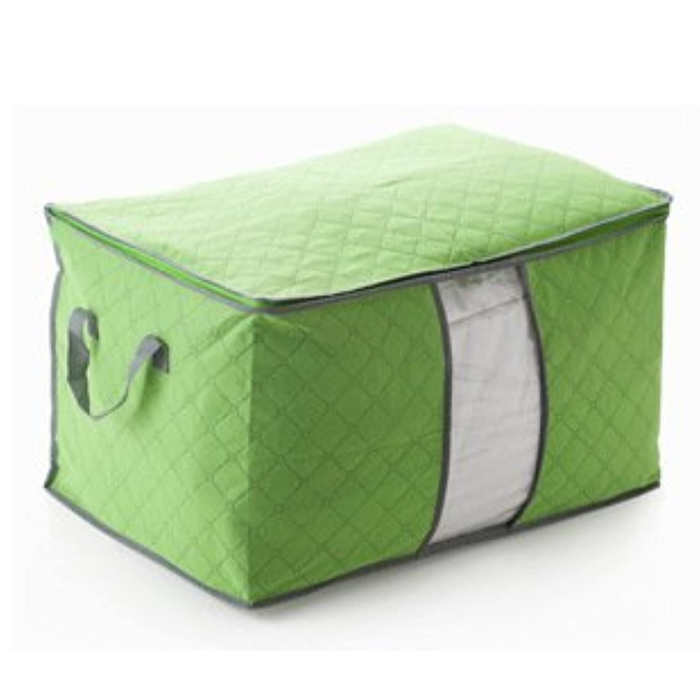 Domire Quilt Cloth Blanket Fabric Storage Organizer Bag Transparent Window Bamboo Charcoal Box (Green)