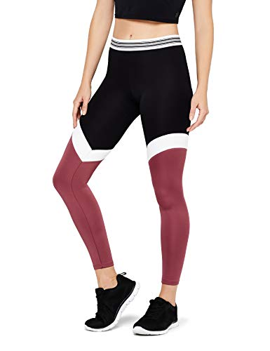 Amazon-Marke: AURIQUE Damen Sportleggings mit Colour-Block-Design, Schwarz (Black/White/Damson), 40, Label:L