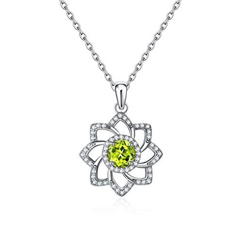 zlw-shop Collar de Mujer 925 Collares de Plata esterlina Verde Peridot Colgante for Las Mujeres con 18 Pulgadas de Cadena Collares Pendientes