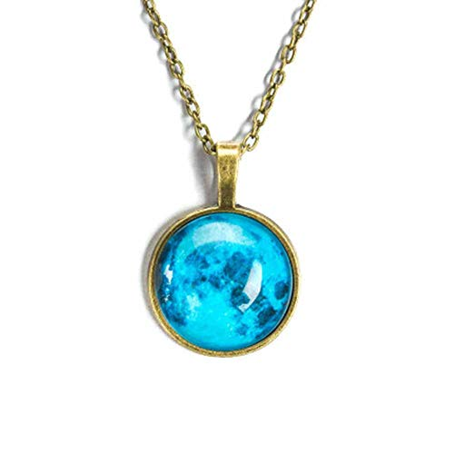 Time Gem Star Luminous Charm Starry Sky Glass Cabochon Pendant Necklace Glow in Dark For Women Girl Christmas Party Jewelry (F-sea blue)