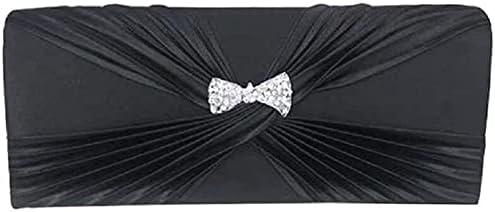 Women's Evening Handbags Satin Evening Bag with Diamond Tote, Chain Bag, Shoulder Bag, Wedding Party (Color : Black)