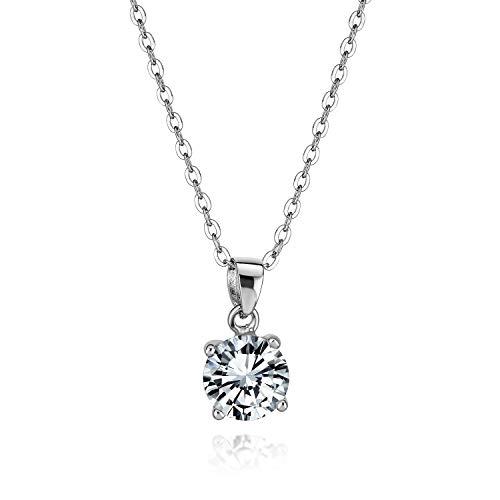 Bling Jewelry Mujer Plata fina 925 plata chapada en rodio redonda Clear Cubic Zirconia