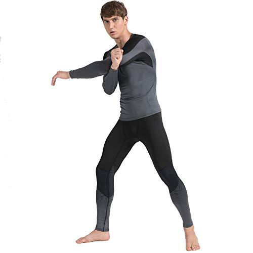 AMZSPORT Herren Kompressionsshirt Atmungsaktiv Langarm Funktionsshirts Schnell Trocknend Sportshirt Laufshirt, Grau Schwarz S - 5