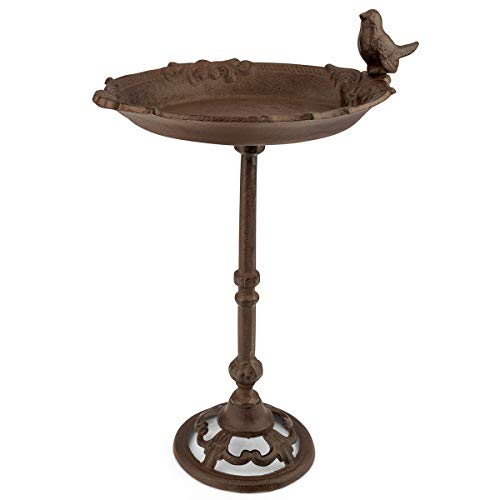 WILDLIFE FRIEND Gran bebedero para pájaros en varilla, baño para pájaros en forma de hoja, resistente a la intemperie, cuenco para comedero
