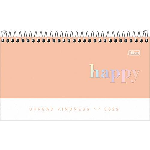 Agenda Espiral Semanal 16,7 x 8,9 cm Happy 2022 - Estampa Coral - Tilibra