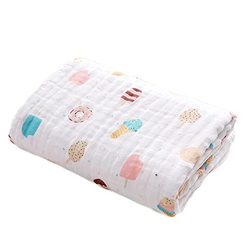 Manta de muselina para bebé de 6 capas, manta de bebé recién nacido, 110 x 110 cm, toalla de baño grande de algodón suave para niños y niñas (helado)