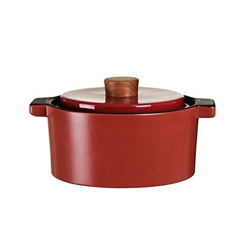 Cocotte en fonte émaillée résistante à la chaleur - Faitout Shadow avec couvercle - Porcelaine - Bois massif - 4 l Moderne size rouge