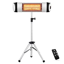 Xbeauty Electric Patio Heater, Outdoor/Indoor Electric Infrared Heater Freestanding&Wall Mounted Space Heater for Garden, Balcony, Garage with Waterproof Aluminum Pole&Remote Control