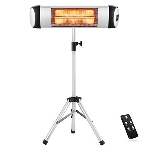 Patio Heater, Electric Outdoor Heater, Infrared Heater for Indoor/Outdoor Use, Adjustable Heating Modes with Display and Switch, 500W-1500W, Waterproof with IP65, Freestanding, Remote&Timer