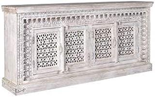 Camino A Casa – Aparador de madera blanco decapé 4 puertas Sundar