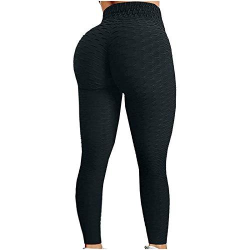 Leggings De Nido De Abeja para Mujer Pantalones De Yoga con Control De Barriga De Cintura Alta Y Levantamiento De Glúteos (Color : Black, Size : S)