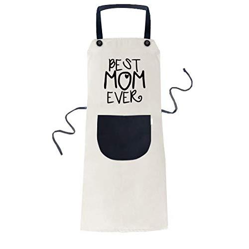 DIYthinker Best Mom Ever Words Mother's Day Apron Cooking Bib Black Kitchen Pocket Women Men